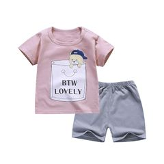 2-Piece boys kids cotton clothes sets long sleeve shirt+ jeans casual boy clothing sets Pink 100cm