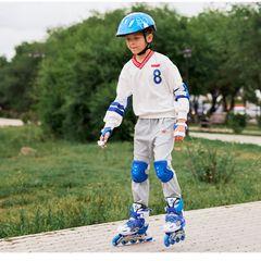 New Adult Kids Adjustable Inline Roller Skating Shoes ExtendableOutdoor Toys Fun Sports Hobbies Blue M(33-37)