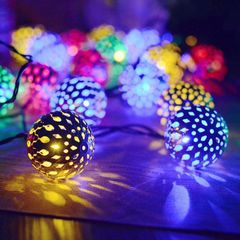 Solar Panels LED Lights String Iron Ball Event Party Lights Decorations Supplies Color mixing one size