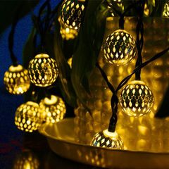 Solar Panels LED Lights String Iron Moroccan Ball Decoration lights Event & Party Supplies warm color one size