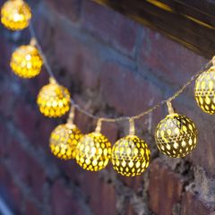 Solar Panels LED Lights String Iron Ball Event Party Lights Decorations Supplies warm color one size