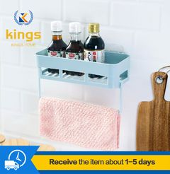 Kitchen Bathroom Shelf Racks for Wall-mounted Perforated Storage Seasoning Racks Bath Fixtures Blue