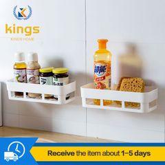 Kitchen Bathroom Shelf Racks for Wall-mounted Perforated Storage Seasoning Racks Bath Fixtures White