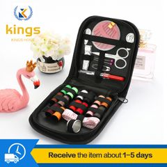 27pcs Portable Household Sewing Box Set Sewing Needle and Sewing kit Thread Set Home Textile Bargain Black one size