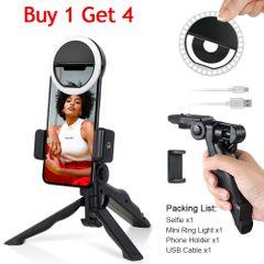 4PCS Tripod Stand Ring Light Phone Selfie Stick Spin Desktop Camera Stand Stabilizer Phone Clip Black one size