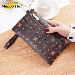 MANGO Women PU Leather Purse Wrist Bag Lady Multiplied Card Organizer Zipper Purse Phone Purse Brown as picture