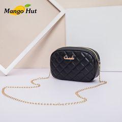 MANGO Women's Fashion Leather Sling Bags Ladies Shoulder Bag Women Purse with Metal Chain Black