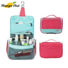 MANGO Hanging Toiletry Bag Large Cosmetic Makeup Travel Organizer for Men & Women with Sturdy Hook Red