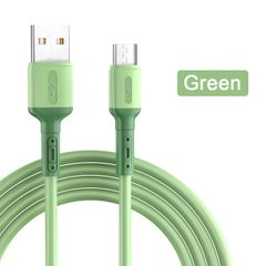 USB Type C Cable 5A Fast Charging Liquid Soft Silicone Mobile Phone USB Data Cable for Android IOS Green 1.5M/Type-C