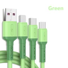 3 in 1 Fast Charging Cable 2.4A Liquid Soft Silicone USB Data Cable USB C/iOS/Micro USB Adapters Green 3 in 1