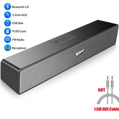 Bluetooth5.0 Speaker Wired/Wireless Soundbar Woofer for Phones TV Desktop Laptop Mic Aux TF FM Black one size