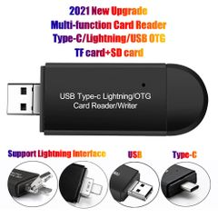 Type-C+Lightning OTG TF/SD Card Reader Portable USB Dual Slot Memory Card Adapter For Apple Android Black