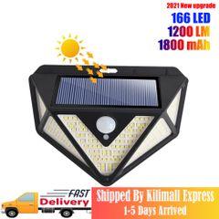 Solar Wall Lights Outdoor 166 LED Wireless Motion Sensor IP65 Waterproof Security Flood Light Black one size one size