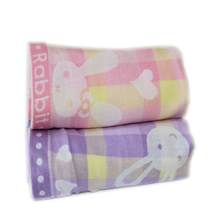 33*73cm 100% Cotton Knitted Yard Dyed  Rabbit Pattern perple&pink Hand Towel House Gife
