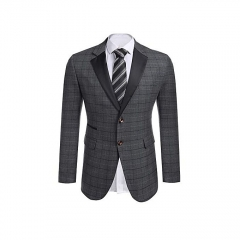 Sunshine Men Notch Lapel Plaid Patchwork Slim Fit 2-Button Casual Blazer-Gray grey s