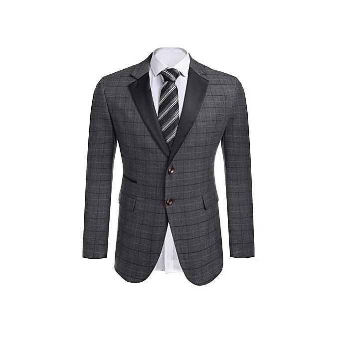 Sunshine Men Notch Lapel Plaid Patchwork Slim Fit 2-Button Casual Blazer-Gray grey s
