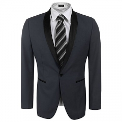 Sunshine Slim Fit Shawl Collar One Button Business Blazer Tuxedo-Gray grey s