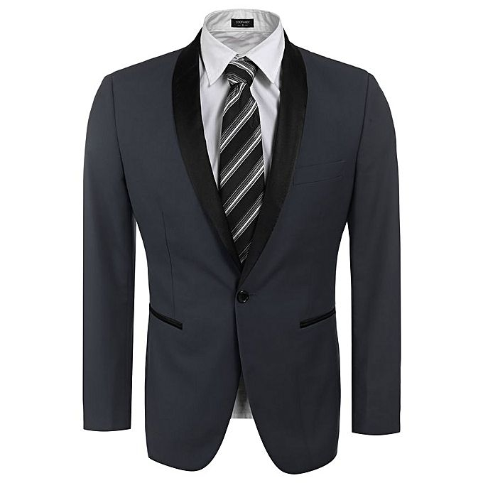 Sunshine Slim Fit Shawl Collar One Button Business Blazer Tuxedo-Gray grey l