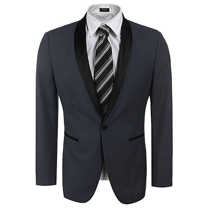 Sunshine Slim Fit Shawl Collar One Button Business Blazer Tuxedo-Gray grey s