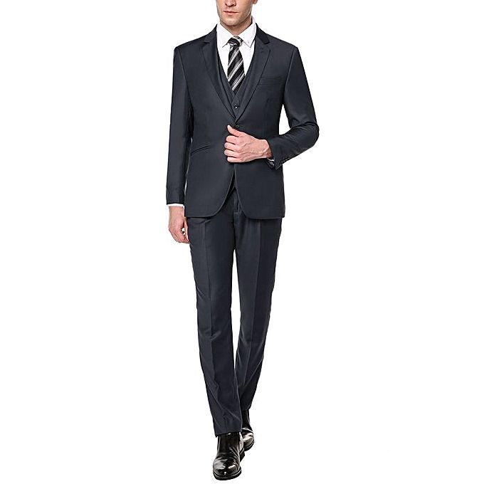 Sunshine Casual Turn-down Collar Blazer Jacket Tux Vest & Trousers  3-piece Suit Set grey m