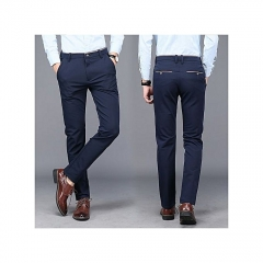 Generic Nice Men Casual British Style Fashion Silm Straight Pants Business Elastic Trousers blue 29