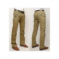Generic Nice Men's Elastic Casual Pants Mens Business Dress Slim Jogger Stretch Long Trouser khaki 29