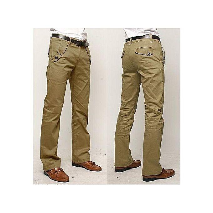 Generic Nice Men's Elastic Casual Pants Mens Business Dress Slim Jogger Stretch Long Trouser khaki 31