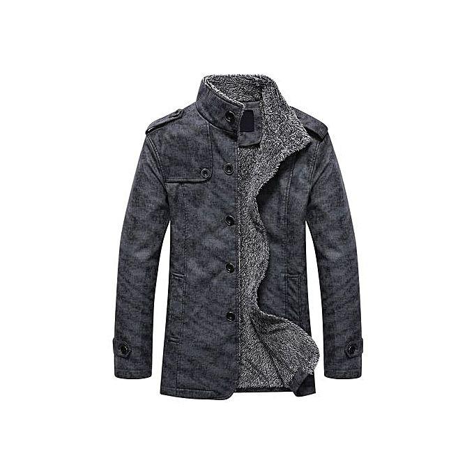 Fashion Stand Collar Single-Breasted Epaulet Embellished Jacket Grey xxl