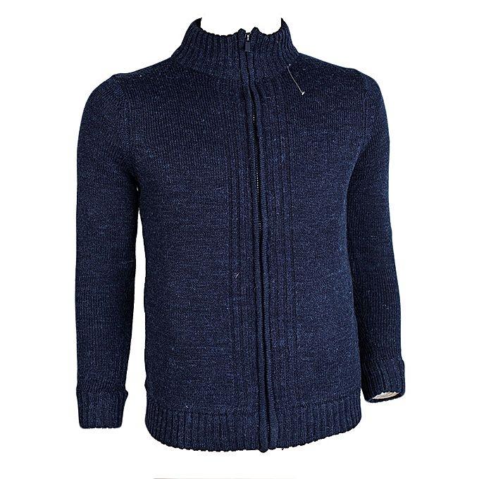 TMG FASHIONS Navy Blue Padded Wool-Blend Jacket blue xxl