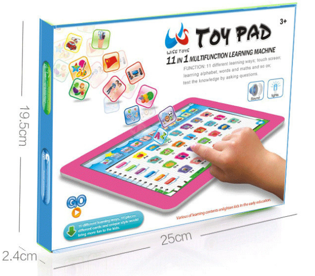 New Y pad English 11 in 1 Multi function Touch Learning Machine, Ypad Teaching Educational Toys Pink 25*19.5*2cm