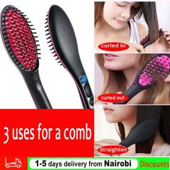 Straight Hair Straightener Comb Digital Electric Straightening Hair Dryer Straightening Irons Black as picture