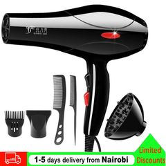 2200W Hair Dryer Professional Blowers Blow Dryer Low Noise Hot And Cold Wind Styling Tools Black as picture