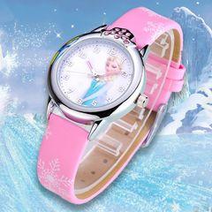 Princess Pattern Children Watch Crystal Cartoon Leather Quartz Wristwatch for Girls Kids waterproof Pink one size