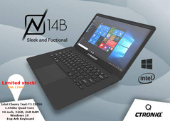 CTRONIQ N14B Notebook PC Laptop - Intel T3 Z8350,Quad-Core, 14 inch,32GB + 2GB,Windows 10 Black 14.1