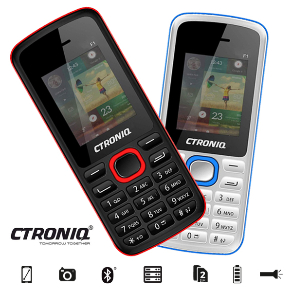 CTRONIQ Force F1 Feature Phone, 32MB RAM+ 32MB ROM, Dual SIM, Bluetooth enabled white