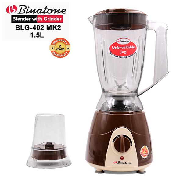 Binatone  BLG-402(MK2) Blender With Grinder 1.5 Litres. 60 year old British brand with 2yr  Warranty Chocolate