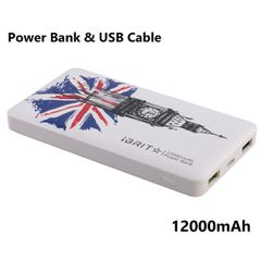 iBRIT Speed 12 Dual USB 12000mAh Power Bank + Free USB Cable White 12000mAh