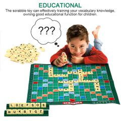 Unisex Scrabble Board Game Family Kids Adults Educational Toy Puzzle Game Toy Christmas gifts as picture one size