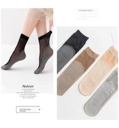 8 Pairs Women Socks Soft Casual Socks Non-slip Bottom Splice Thin Silk Sock Women Ladies 2 black+2 nude+2 gray+2 coffee women size