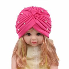 New girl's hat pearl turban hat, baby hat, photography props, baby beanie, baby girl hat Pink one size