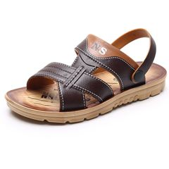 12#2021 Men's Summer New Fashion Beach Shoes Non-slip Waterproof Sandals and Slippers Dual-use dark brown 43