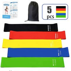5 Pack Resistance Loop Bands Exercise Bands Yoga for Home Workout, Strength Training, Pilates 5 colors normal