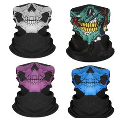 4 pack Neck Gaiters Elastic Face Scarfs  Women and Men Bandana, Multi-Purpose Balaclava for Outdoor 4 pack style A