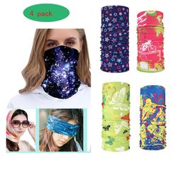 4 pack Neck Gaiters Elastic Face Scarfs  Women and Men Bandana, Multi-Purpose Balaclava for Outdoor 4 pack style B