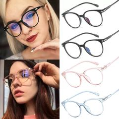 1PC Round Clear Glasses Women Transparent Lens Glasses Frame Ladies Optical Eyeglasses Frame Gift Glossy Black