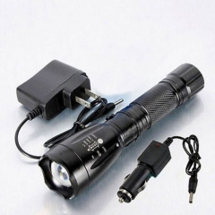 2200LM 5Modes T6  LED Rechargeable Flashlight Torch 18650 with Charger Black black one size 15w