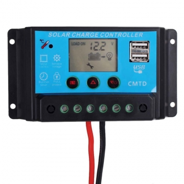 20A 12V/24V USB Output LCD Display PWM Panel Regulator Solar Charge Controller as picture show nomal