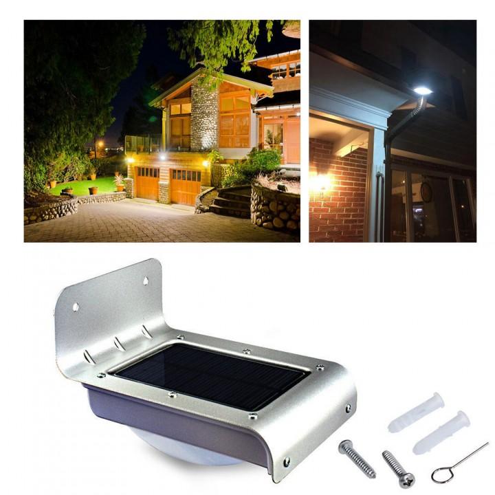 24 LED Solar Power Outdoor Waterproof Lamp PIR Motion Sensor Security Light silver 0.65w