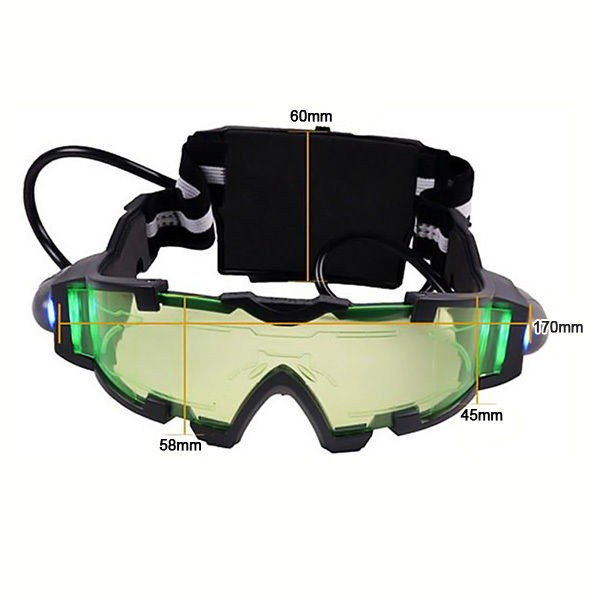 Adjustable LED Night Vision Glass Goggles with Filp-out Light Windproof Hunting black