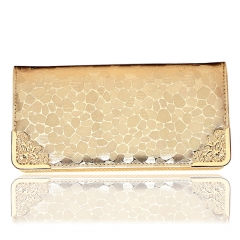 Fashion Stone Grain PU Leather Zip Women's Purse Wallet Party Clutch Bag Golden one size